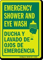 Emergency Shower and Eyewash (Bilingual) Sign