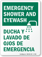 Emergency Shower & Eyewash Emergency Sign (Bilingual)