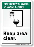 Emergency Shower Eyewash Station Keep Area Clear Sign