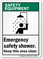 Emergency Safety Shower Keep Clear Safety Equipment Sign