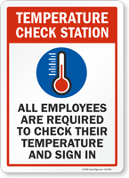 Employees Are Required To Check Their Temperature Sign