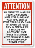 Employees Handling Food Service Items Must Wear Gloves Sign