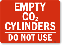 Empty CO2 Cylinders Sign