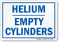 Helium Empty Cylinders Sign