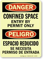 Confined Space Entry By Permit (Bilingual) Sign