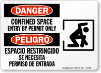 Danger Confined Space Permit Only Bilingual Sign