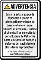 Custom Environmental Exposure Spanish Prop 65 Sign