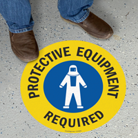 Protective Equipment Required SlipSafe Floor Sign