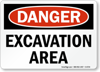 Excavation Area OSHA Danger Sign