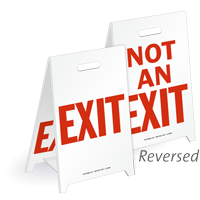 Exit & Not An Exit Fold-Ups Floor Sign