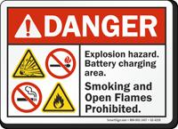 Explosion Hazard Battery Charging Area ANSI Danger Sign