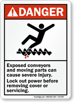 Exposed Conveyors Cause Injury Lock Out Power Sign