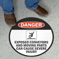 Exposed Conveyors Can Cause Injury Danger Floor Sign