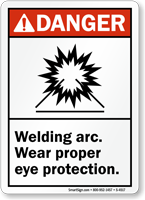 Welding Arc Wear Proper Eye Protection Sign