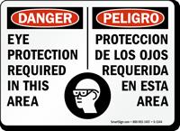 English Spanish OSHA Danger Eye Protection Required Sign