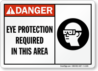 Eye Protection Required In This Area Danger Sign
