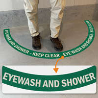 Eye Wash & Shower Station - Keep Area Clear, 2-Part Floor Sign