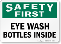 Eye Wash Bottles Inside Safety Sign