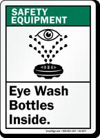 Eye Wash Bottles Inside Safety Equipment Sign