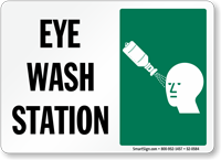 Eye Wash Station Sign with Eyewash Bottle Symbol