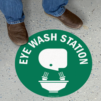 Eye Wash Station with Graphic Sign