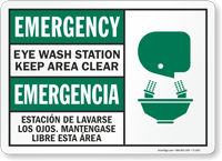 Emergency Eye Wash Keep Clear Bilingual Sign