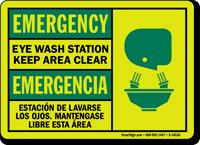 Emergency Eye Wash Station Keep Clear Bilingual Sign