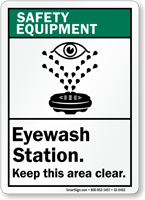 Eyewash Station Keep Clear ANSI Safety Equipment Sign
