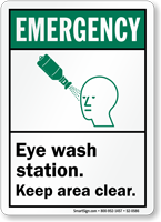 Eyewash Bottle Station Keep Area Clear Emergency Sign