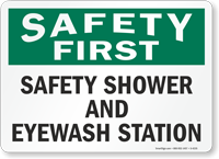 Safety First Safety Shower Eyewash Station Sign