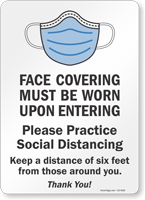 Face Covering Must Be Worn Upon Entering Sign