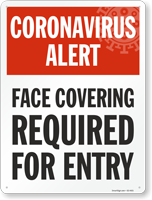 Face Covering Required for Entry Face Mask Safety Sign
