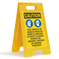 Wear Face Shields Goggles During Grinding, Floor Sign
