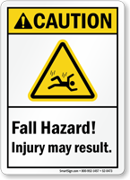 Fall Hazard, Injury May Result ANSI Caution Sign