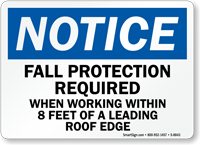 Fall Protection Required Sign