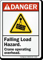 Falling Load Hazard ANSI Danger Sign