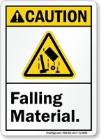 Falling Material ANSI Caution Sign With Graphic