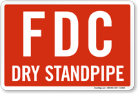 FDC Dry Standpipe Red Sign