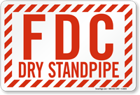 FDC Dry Standpipe Striped Border Sign