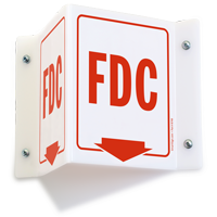FDC Projecting Emergency Sign With Bottom Arrow