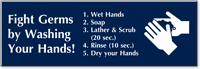 Fight Germs By Washing Hands Engraved Sign