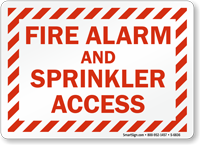 Fire Alarm Sprinkler Access Sign
