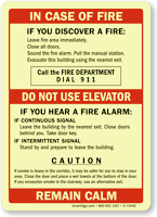 Upon Discovery Of Fire, Call Fire Department Sign