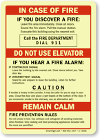 In Case Of Fire, Don't Use Elevator Sign