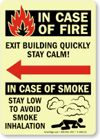 In Fire Exit, Stay Low Smoke Inhalation Sign