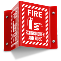 Fire Extinguisher and Hose Sign with Graphic
