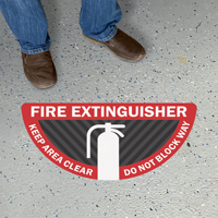 Fire Extinguisher - Keep Area Clear, Do Not Block Way, Semi-Circle