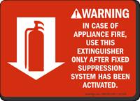Fire Extinguisher Instruction Warning Sign