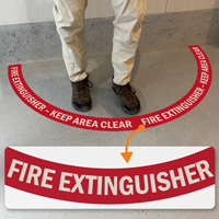 Fire Extinguisher - Keep Area Clear, 2-Part Floor Sign