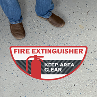 Fire Extinguisher - Keep Area Clear, Semi-Circle, Red & Black
